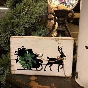 Farmhouse style Santa and his sleigh shelf sitter
